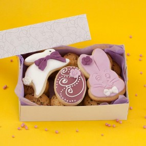 Box with Easter cookies and decorated biscuits