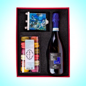 French Macarons - A Gift Set with a Large Bottle of Prosecco