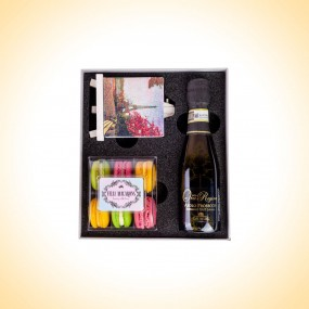 French Macarons - A Gift Set with a Small Bottle of Prosecco