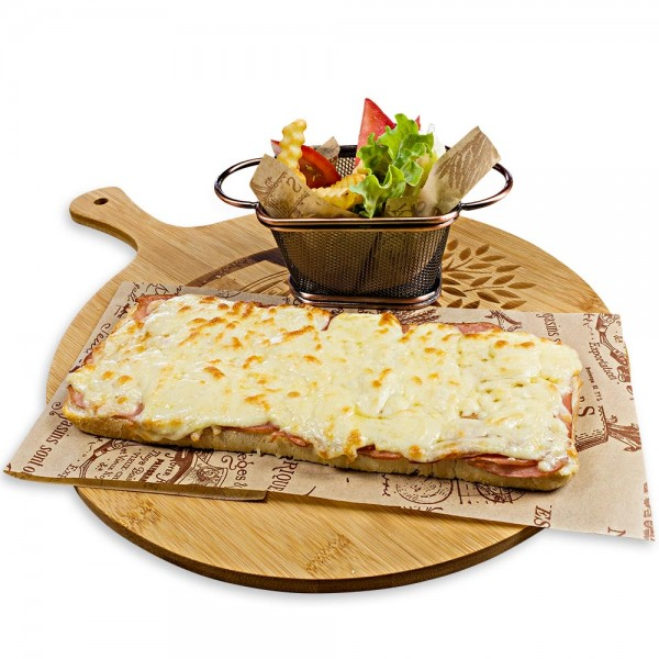 Sandwich with ham and yellow cheese